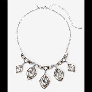 WHBM Silvertone Diamond Shape Statement Necklace
